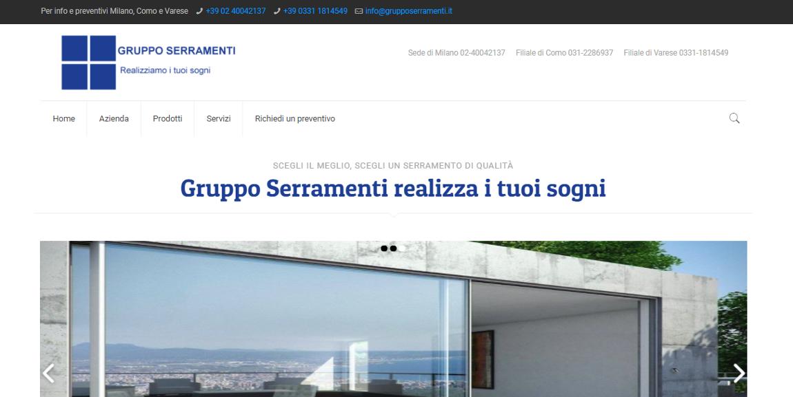 Realizzazione sito web per Gruppo Serramenti di Milano